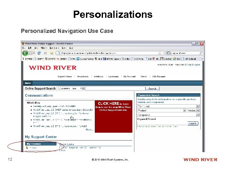 Personalizations Personalized Navigation Use Case 12 © 2010 Wind River Systems, Inc.
