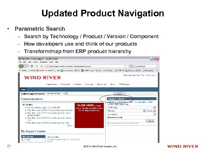 Updated Product Navigation • Parametric Search – Search by Technology / Product / Version