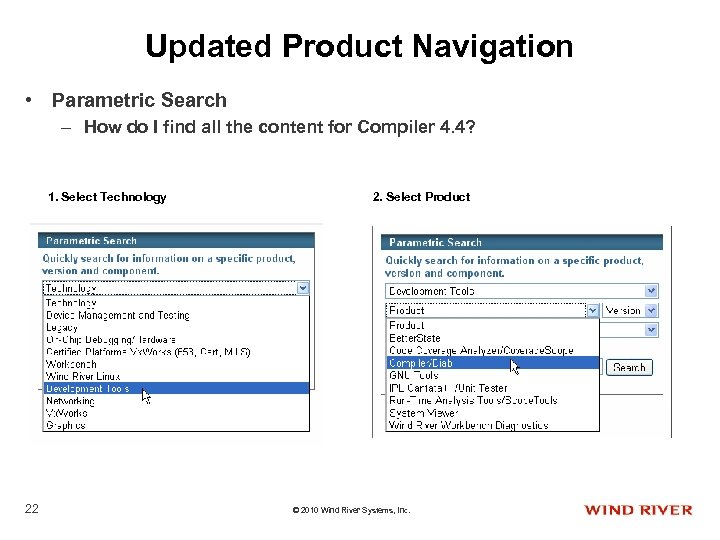 Updated Product Navigation • Parametric Search – How do I find all the content