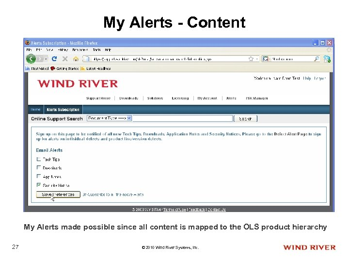 My Alerts - Content My Alerts made possible since all content is mapped to