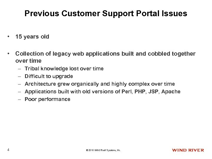 Previous Customer Support Portal Issues • 15 years old • Collection of legacy web