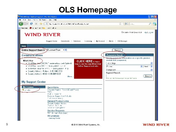 OLS Homepage 9 © 2010 Wind River Systems, Inc.