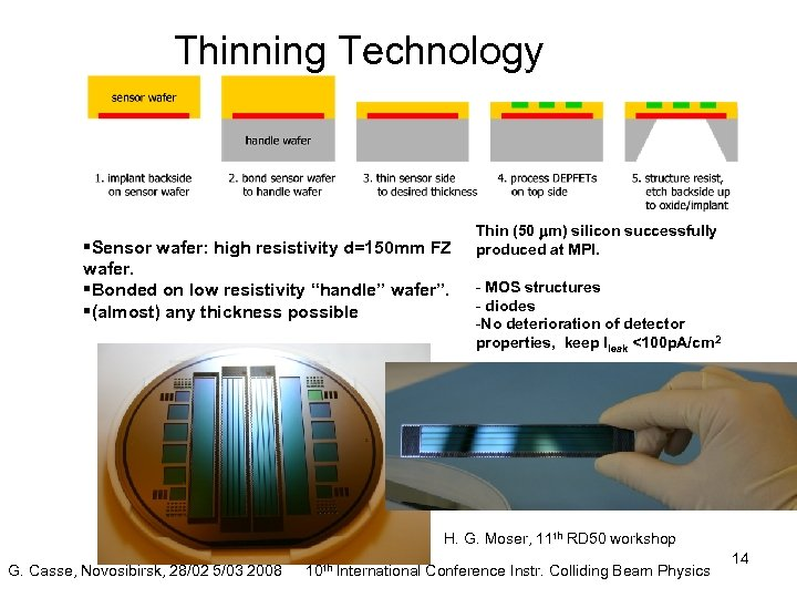 Thinning Technology §Sensor wafer: high resistivity d=150 mm FZ wafer. §Bonded on low resistivity