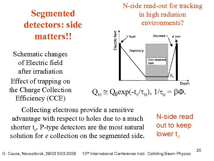 Segmented detectors: side matters!! Schematic changes of Electric field after irradiation Effect of trapping