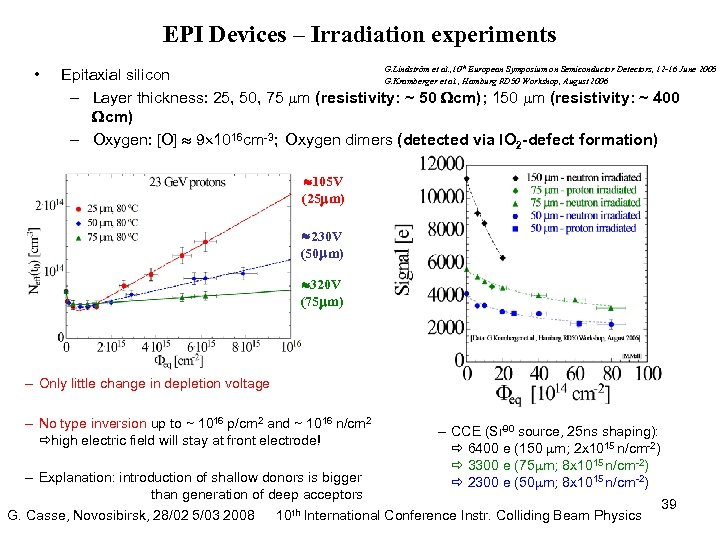 EPI Devices – Irradiation experiments • G. Lindström et al. , 10 th European