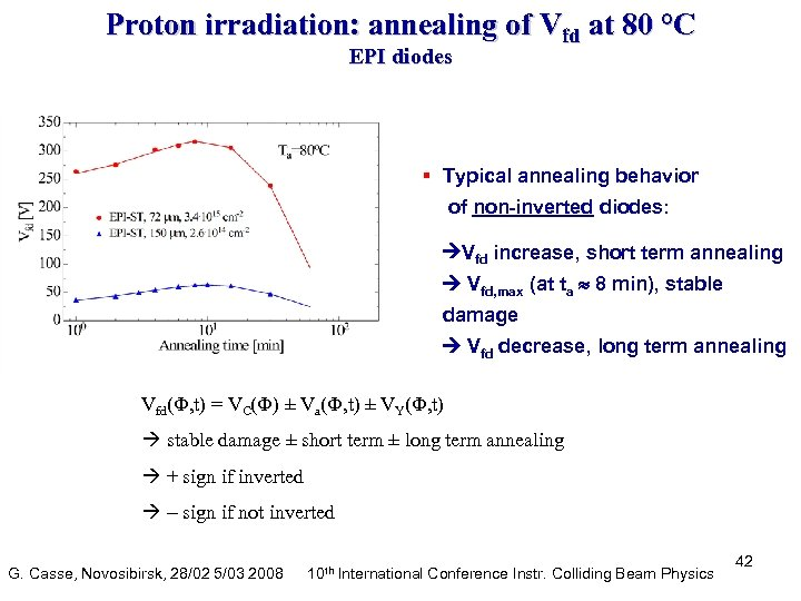 Proton irradiation: annealing of Vfd at 80 °C EPI diodes § Typical annealing behavior