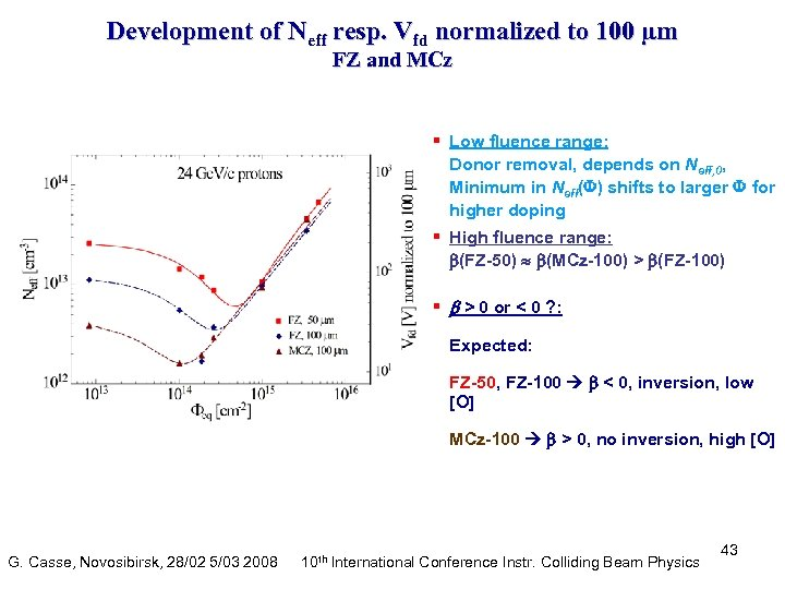 Development of Neff resp. Vfd normalized to 100 µm FZ and MCz § Low