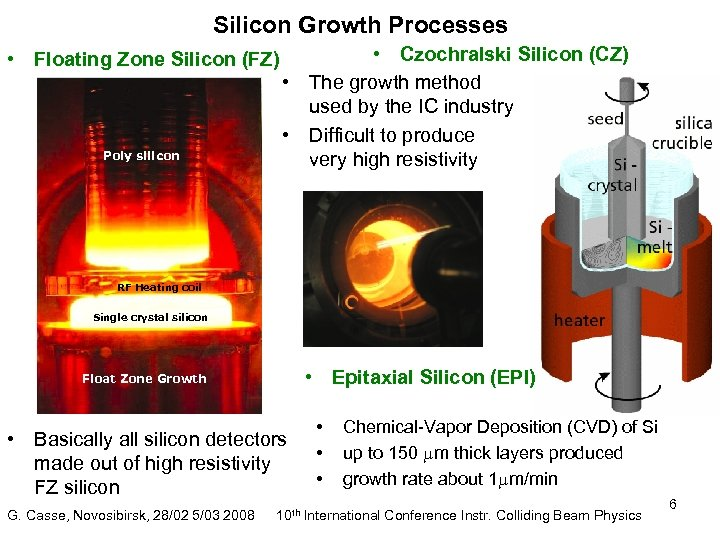 Silicon Growth Processes • Floating Zone Silicon (FZ) Poly silicon • Czochralski Silicon (CZ)