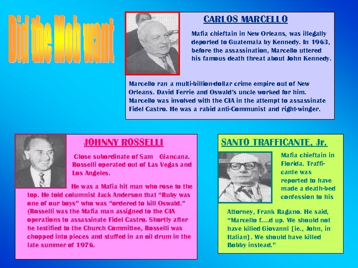 CARLOS MARCELLO Mafia chieftain in New Orleans, was illegally deported to Guatemala by Kennedy.