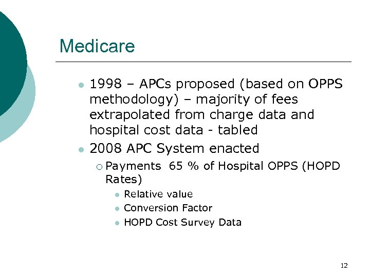 Medicare l l 1998 – APCs proposed (based on OPPS methodology) – majority of