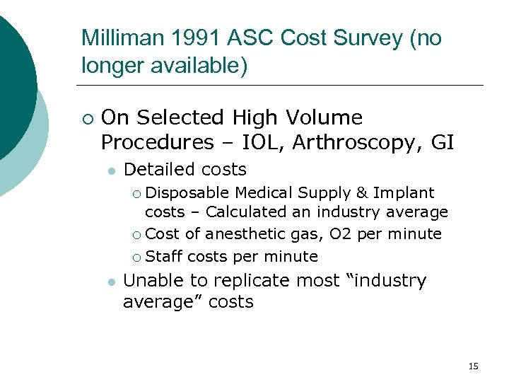 Milliman 1991 ASC Cost Survey (no longer available) ¡ On Selected High Volume Procedures