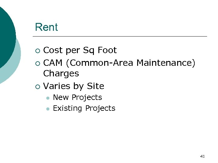 Rent Cost per Sq Foot ¡ CAM (Common-Area Maintenance) Charges ¡ Varies by Site