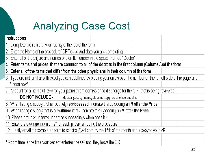 Analyzing Case Cost 52