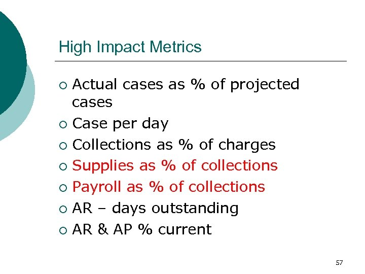 High Impact Metrics Actual cases as % of projected cases ¡ Case per day