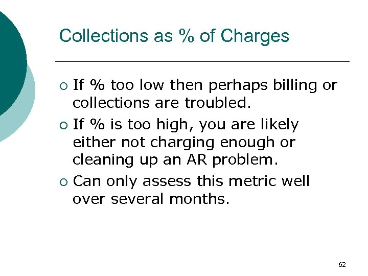 Collections as % of Charges If % too low then perhaps billing or collections