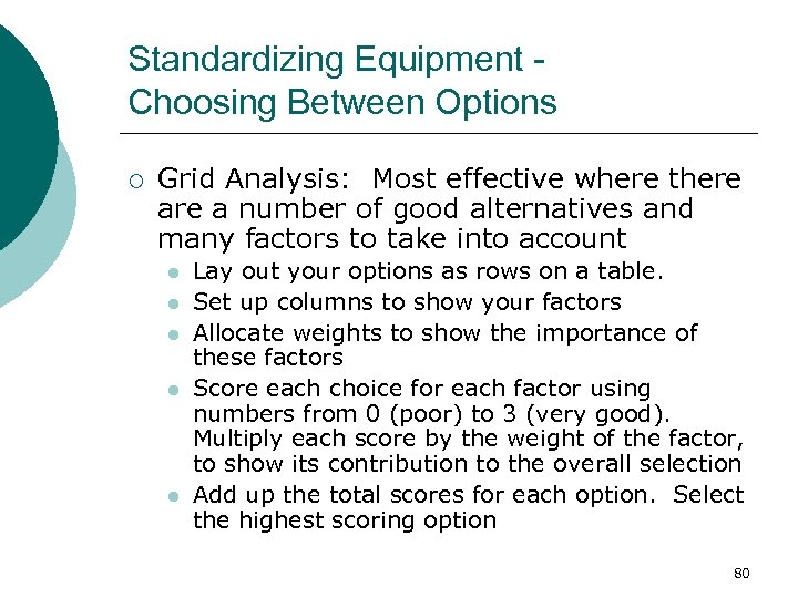 Standardizing Equipment Choosing Between Options ¡ Grid Analysis: Most effective where there a number