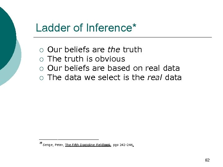 Ladder of Inference* ¡ ¡ Our The beliefs are the truth is obvious beliefs
