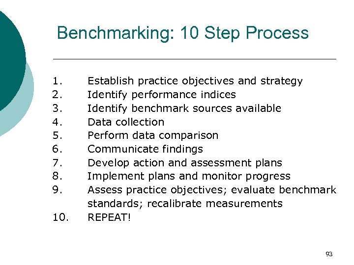 Benchmarking: 10 Step Process 1. 2. 3. 4. 5. 6. 7. 8. 9. 10.