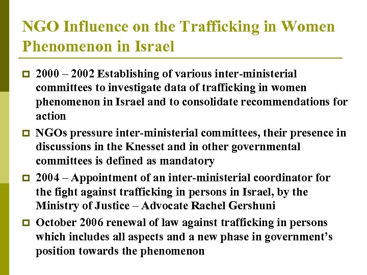 NGO Influence on the Trafficking in Women Phenomenon in Israel p p 2000 –