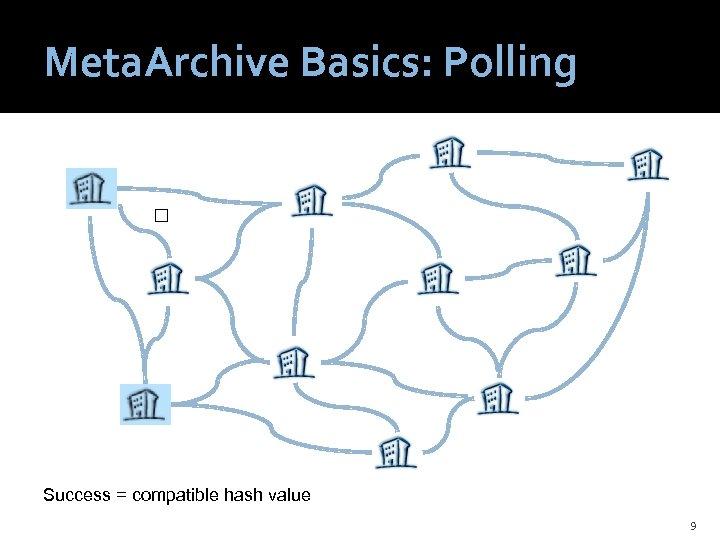 Meta. Archive Basics: Polling Success = compatible hash value 9