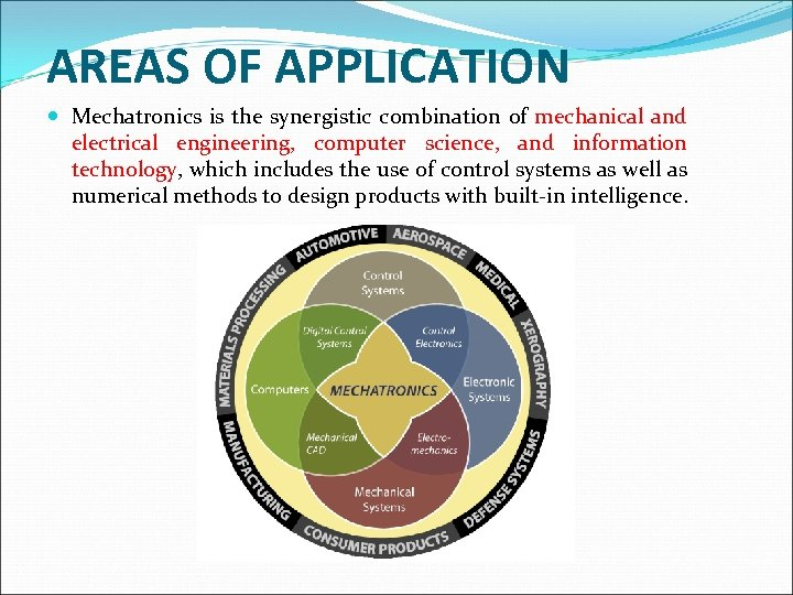 AREAS OF APPLICATION Mechatronics is the synergistic combination of mechanical and electrical engineering, computer