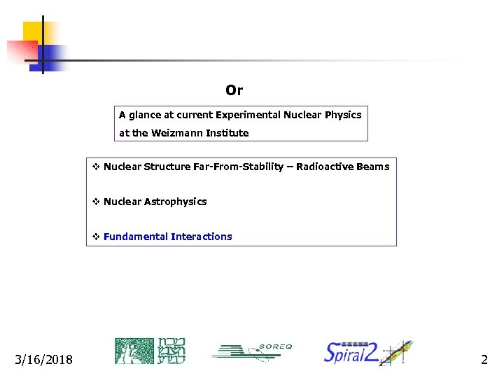 Or A glance at current Experimental Nuclear Physics at the Weizmann Institute v Nuclear