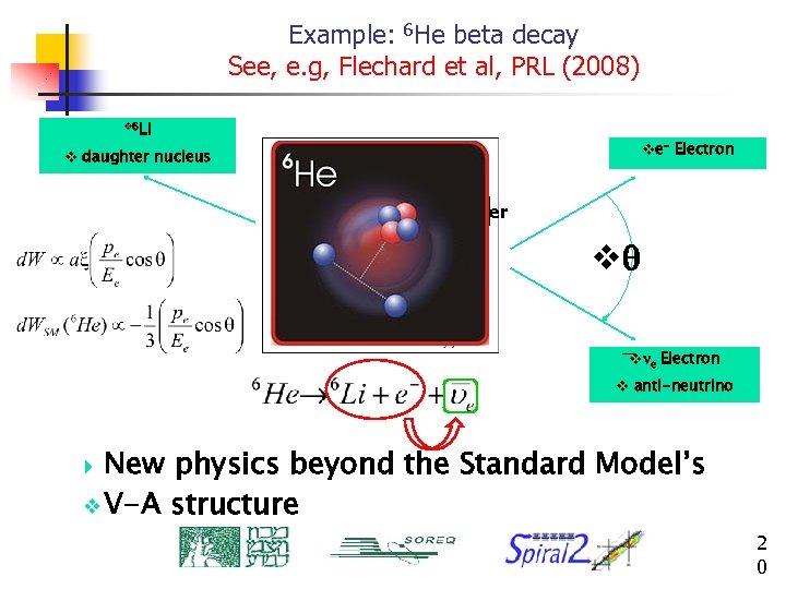 Example: 6 He beta decay See, e. g, Flechard et al, PRL (2008) v