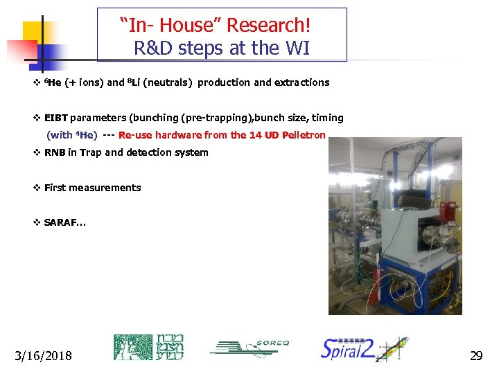 """""""In- House"""" Research! R&D steps at the WI v 6 He (+ ions) and"""