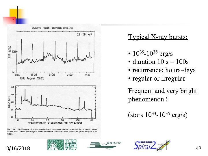 Typical X-ray bursts: • 1036 -1038 erg/s • duration 10 s – 100 s