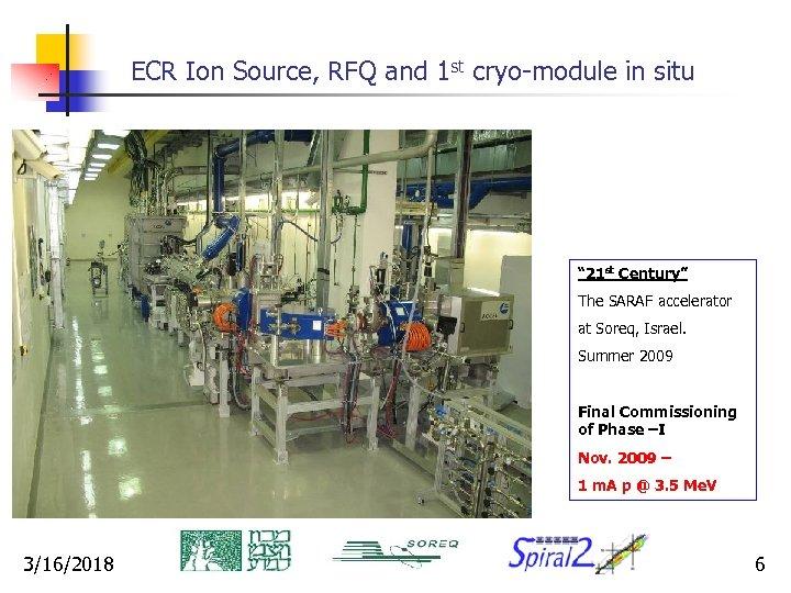 "ECR Ion Source, RFQ and 1 st cryo-module in situ "" 21 st Century"""