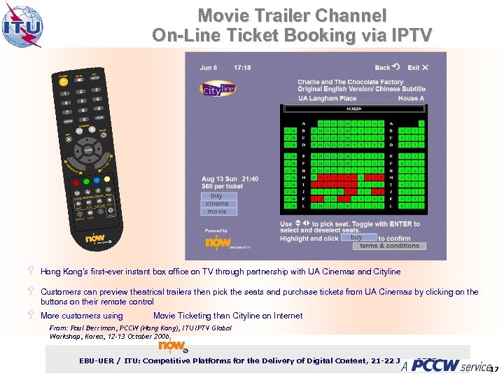Movie Trailer Channel On-Line Ticket Booking via IPTV ITU-T Ÿ Hong Kong's first-ever instant