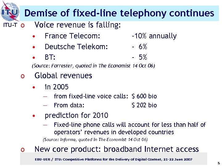 Demise of fixed-line telephony continues ITU-T o Voice revenue is falling: • • •