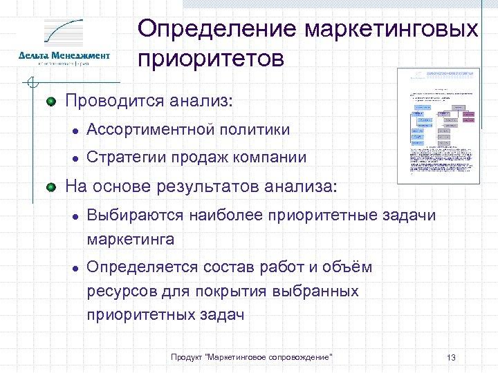 Определение маркетинговых приоритетов Проводится анализ: ● Ассортиментной политики ● Стратегии продаж компании На основе