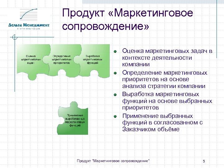 Продукт «Маркетинговое сопровождение» Оценка маркетинговых задач в контексте деятельности компании Определение маркетинговых приоритетов на
