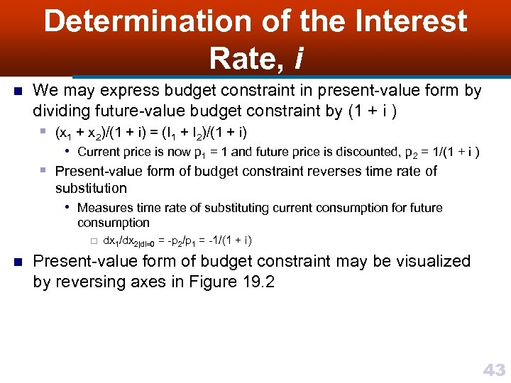 Determination of the Interest Rate, i n We may express budget constraint in present-value