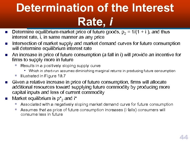 Determination of the Interest Rate, i n n n Determine equilibrium-market price of future