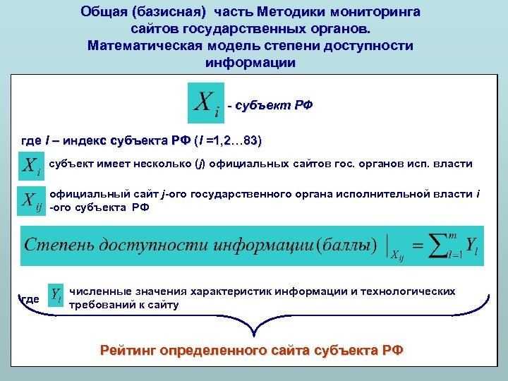 Общая (базисная) часть Методики мониторинга сайтов государственных органов. Математическая модель степени доступности информации -