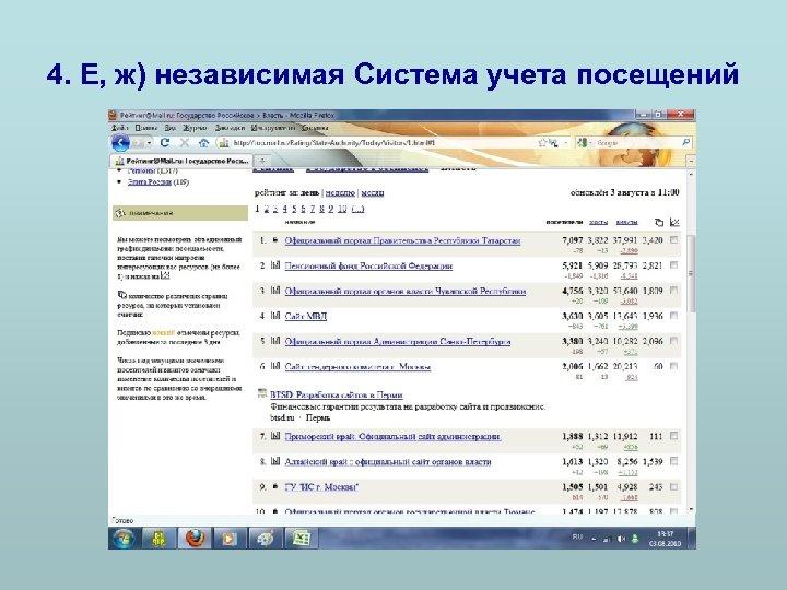 4. Е, ж) независимая Система учета посещений