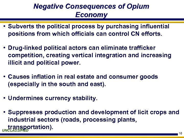 Negative Consequences of Opium Economy • Subverts the political process by purchasing influential positions