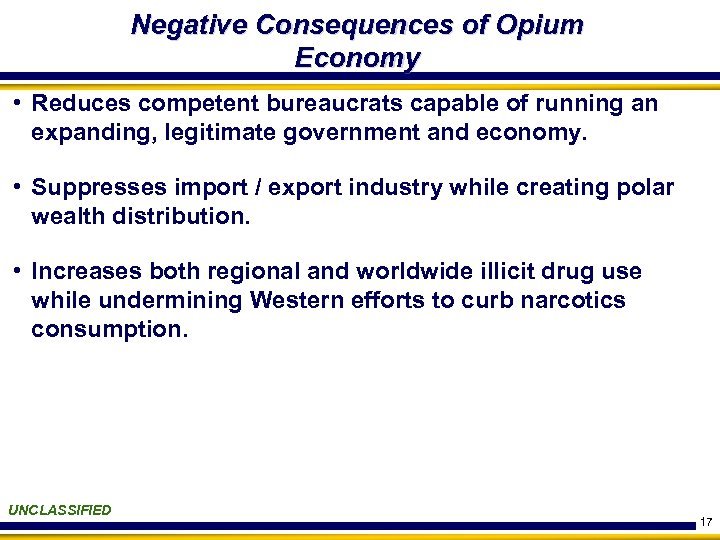 Negative Consequences of Opium Economy • Reduces competent bureaucrats capable of running an expanding,