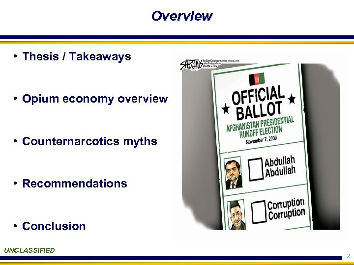 Overview • Thesis / Takeaways • Opium economy overview • Counternarcotics myths • Recommendations