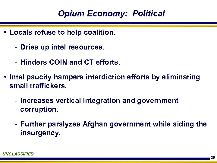 Opium Economy: Political • Locals refuse to help coalition. - Dries up intel resources.