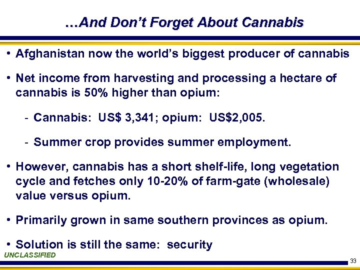 …And Don't Forget About Cannabis • Afghanistan now the world's biggest producer of cannabis