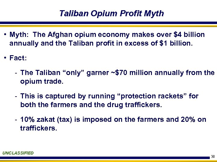 Taliban Opium Profit Myth • Myth: The Afghan opium economy makes over $4 billion