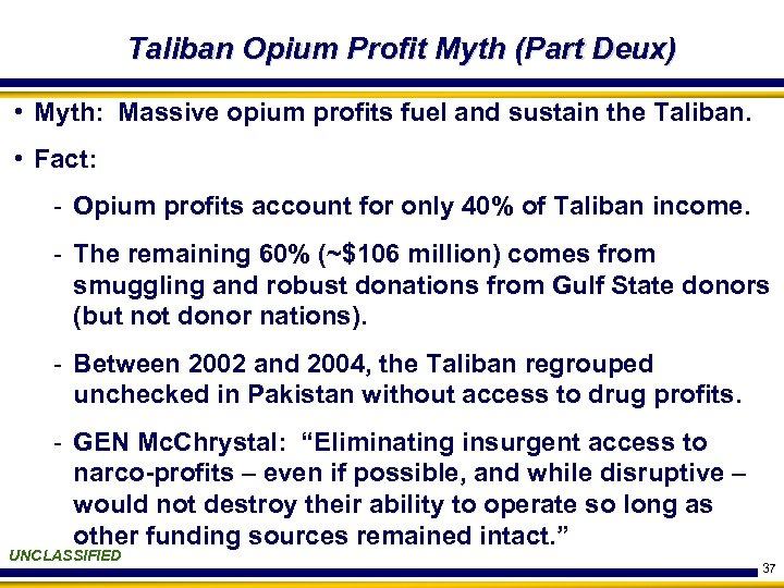 Taliban Opium Profit Myth (Part Deux) • Myth: Massive opium profits fuel and sustain
