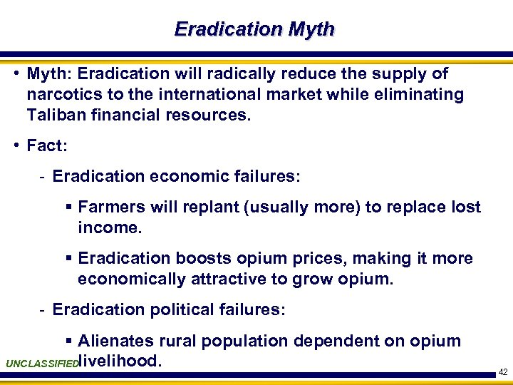 Eradication Myth • Myth: Eradication will radically reduce the supply of narcotics to the