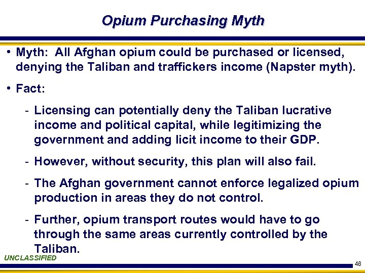 Opium Purchasing Myth • Myth: All Afghan opium could be purchased or licensed, denying