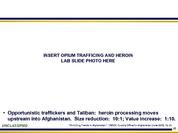 INSERT OPIUM TRAFFICING AND HEROIN LAB SLIDE PHOTO HERE • Opportunistic traffickers and Taliban: