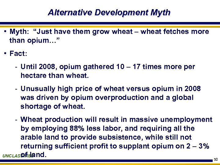 "Alternative Development Myth • Myth: ""Just have them grow wheat – wheat fetches more"