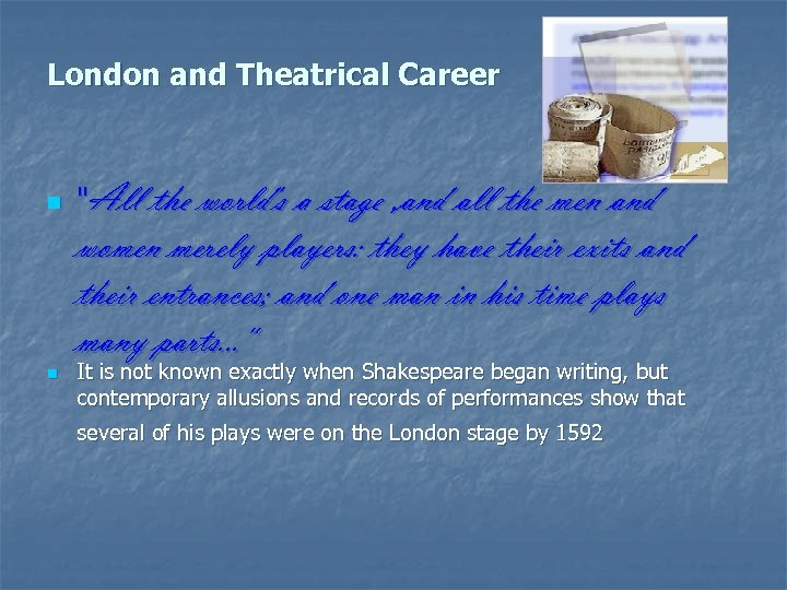 London and Theatrical Career n